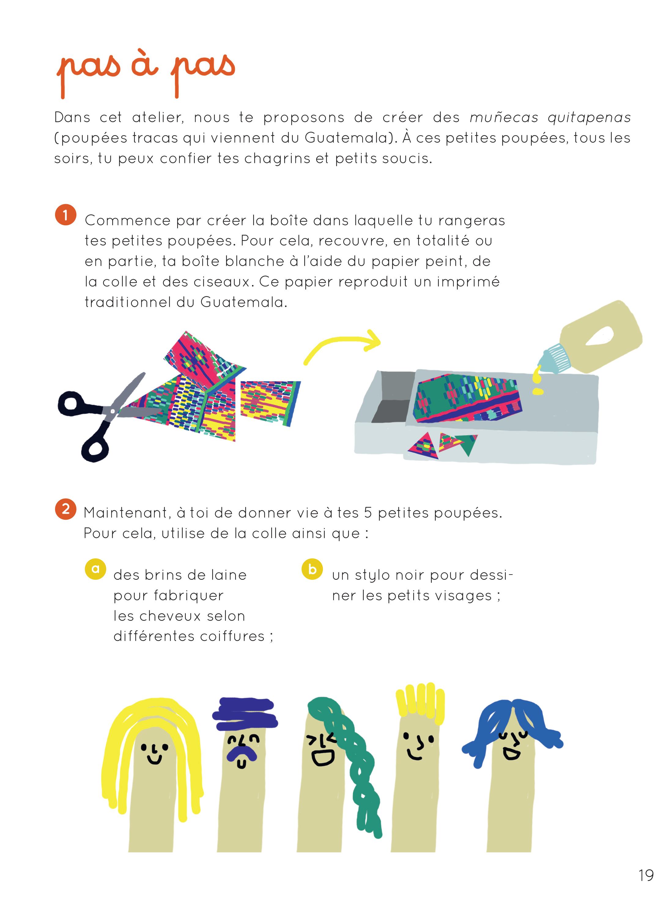 Fabriquer des pourpées anti-tracas pas-à-pas ©créer Jouer Rêver/Glénat Jeunesse 2016