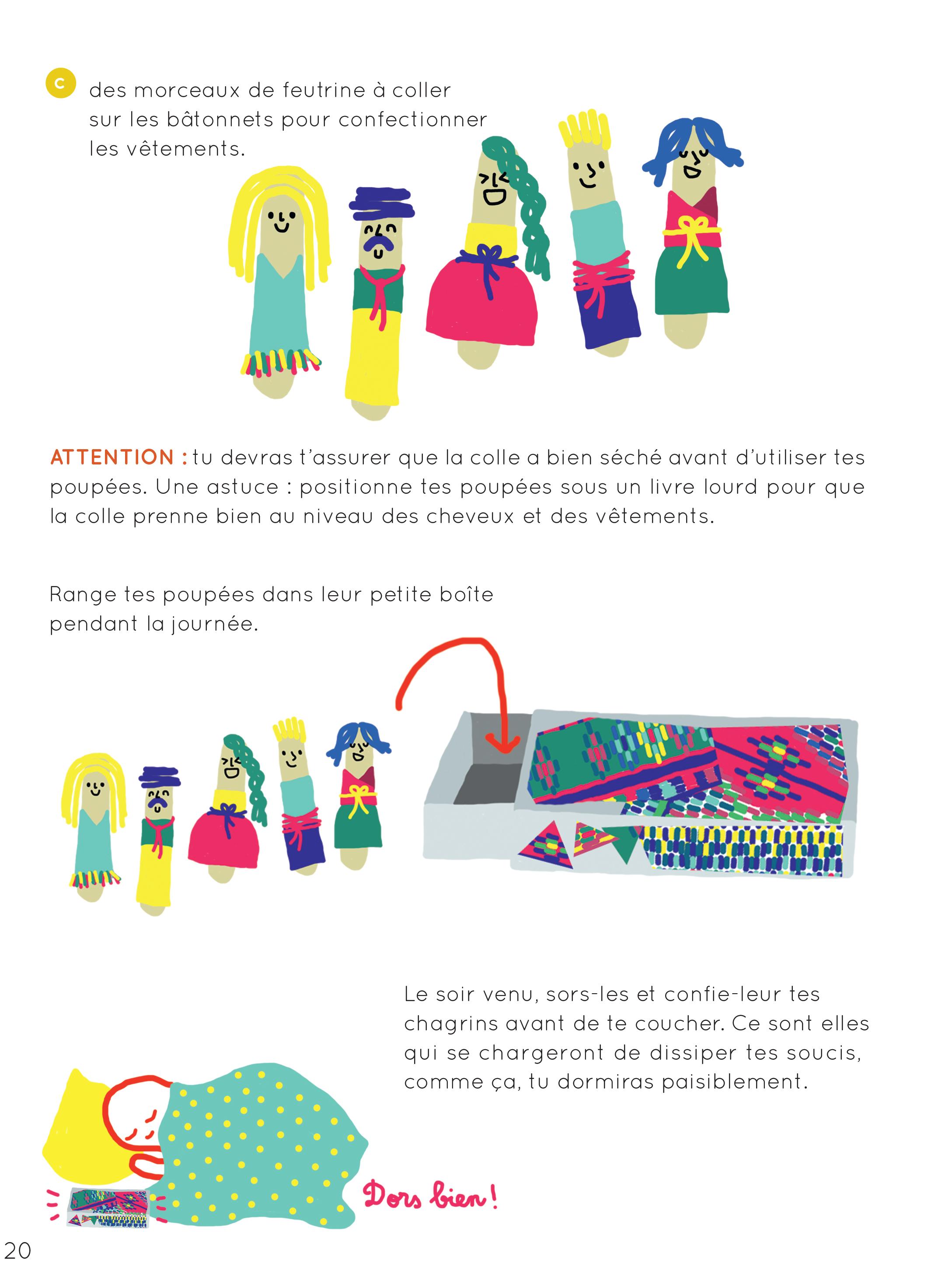 Fabriquer des poupées anti-tracas - les poupées ©créer Jouer Rêver/Glénat Jeunesse 2016